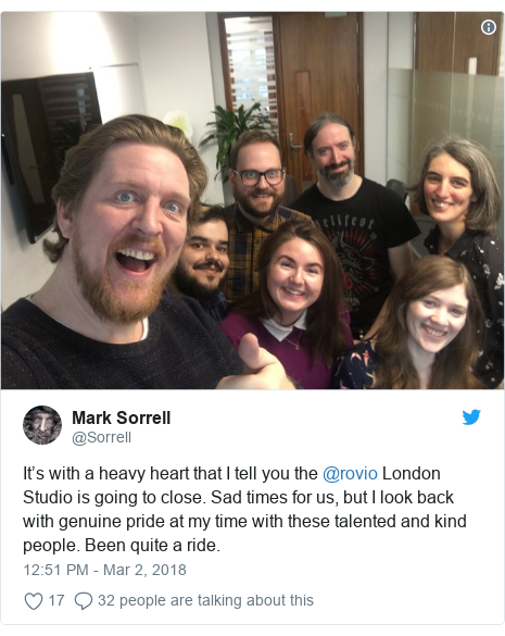 Twitter post by @Sorrell: It's with a heavy heart that I tell you the @rovio London Studio is going to close. Sad times for us, but I look back with genuine pride at my time with these talented and kind people. Been quite a ride.