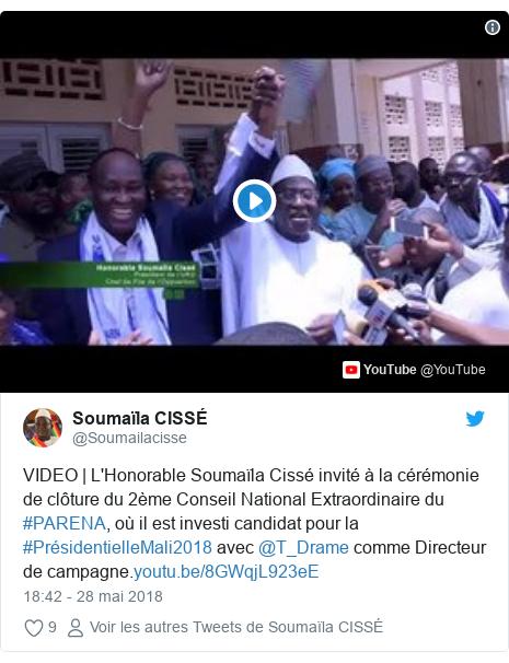Twitter publication par @Soumailacisse: VIDEO | L'Honorable Soumaïla Cissé invité à la cérémonie de clôture du 2ème Conseil National Extraordinaire du #PARENA, où il est investi candidat pour la #PrésidentielleMali2018 avec @T_Drame comme Directeur de campagne.