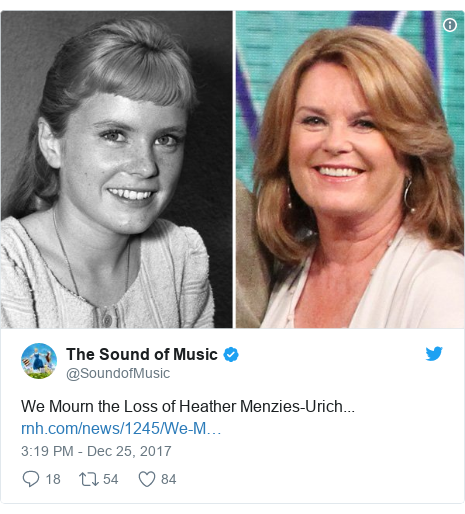 Twitter post by @SoundofMusic: We Mourn the Loss of Heather Menzies-Urich...