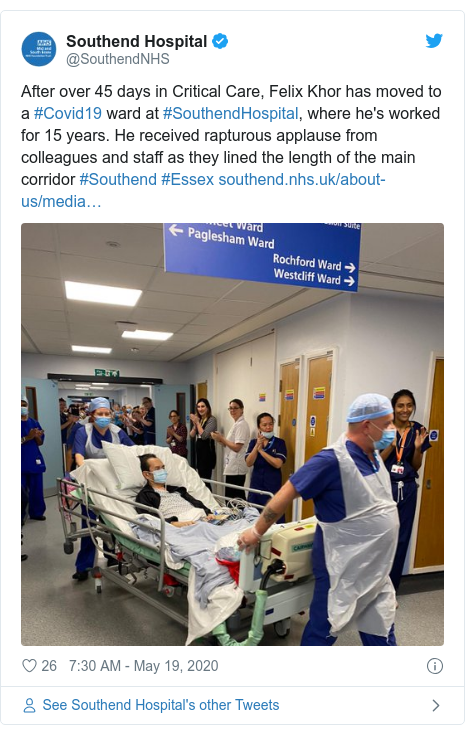 Twitter post by @SouthendNHS: After over 45 days in Critical Care, Felix Khor has moved to a #Covid19 ward at #SouthendHospital, where he's worked for 15 years. He received rapturous applause from colleagues and staff as they lined the length of the main corridor #Southend #Essex