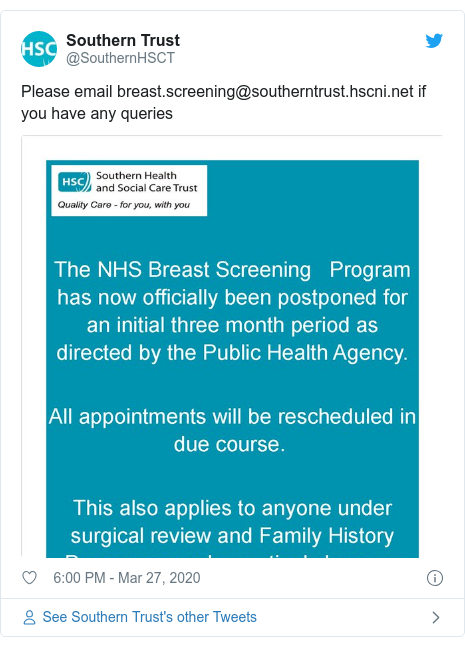 Twitter post by @SouthernHSCT: Please email breast.screening@southerntrust.hscni.net if you have any queries
