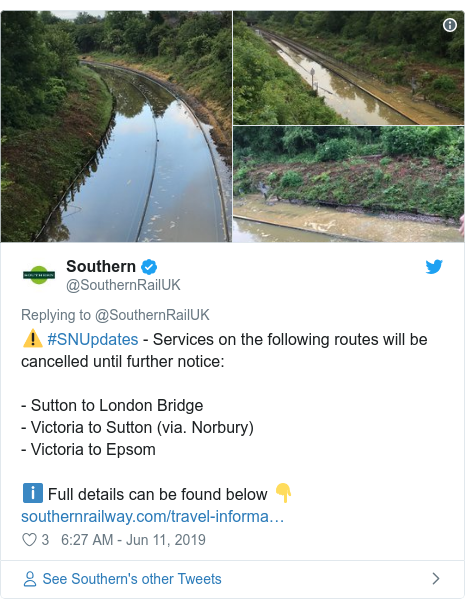 Twitter post by @SouthernRailUK: ⚠️ #SNUpdates - Services on the following routes will be cancelled until further notice - Sutton to London Bridge- Victoria to Sutton (via. Norbury)- Victoria to Epsomℹ️ Full details can be found below 👇