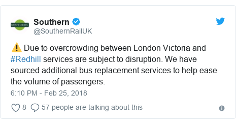 Twitter post by @SouthernRailUK: ⚠️ Due to overcrowding between London Victoria and #Redhill services are subject to disruption. We have sourced additional bus replacement services to help ease the volume of passengers.