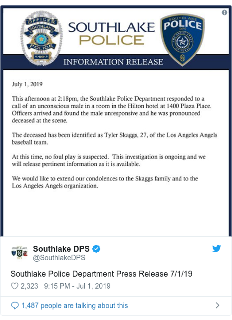 Twitter post by @SouthlakeDPS: Southlake Police Department Press Release 7/1/19