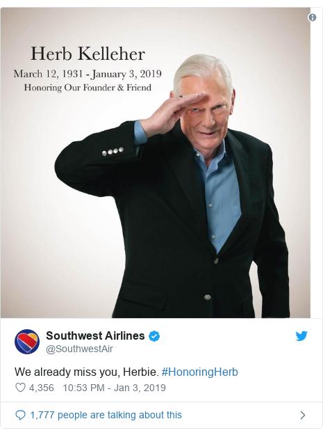 Twitter post by @SouthwestAir: We already miss you, Herbie. #HonoringHerb