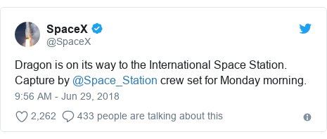 Twitter post by @SpaceX: Dragon is on its way to the International Space Station. Capture by @Space_Station crew set for Monday morning.