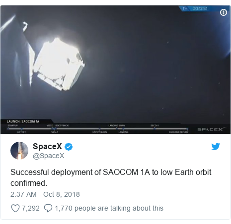 Twitter post by @SpaceX: Successful deployment of SAOCOM 1A to low Earth orbit confirmed.