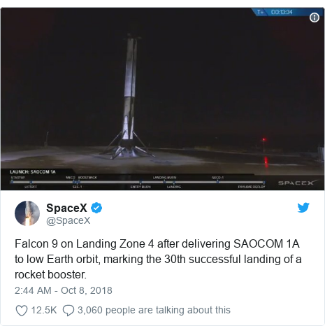 Twitter post by @SpaceX: Falcon 9 on Landing Zone 4 after delivering SAOCOM 1A to low Earth orbit, marking the 30th successful landing of a rocket booster.