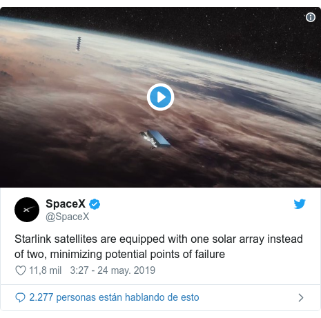 Twitter post by @SpaceX: Starlink satellites are equipped with one solar array instead of two, minimizing potential points of failure