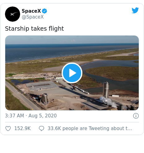 Twitter post by @SpaceX: Starship takes flight