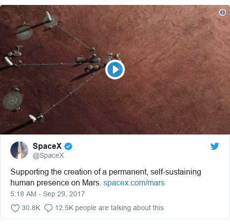 Twitter post by @SpaceX: Supporting the creation of a permanent, self-sustaining human presence on Mars.