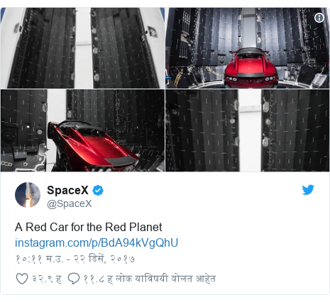 Twitter post by @SpaceX: A Red Car for the Red Planet
