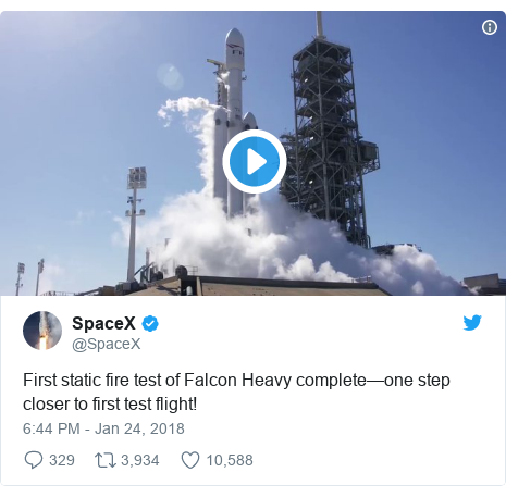 Twitter post by @SpaceX: First static fire test of Falcon Heavy complete—one step closer to first test flight!