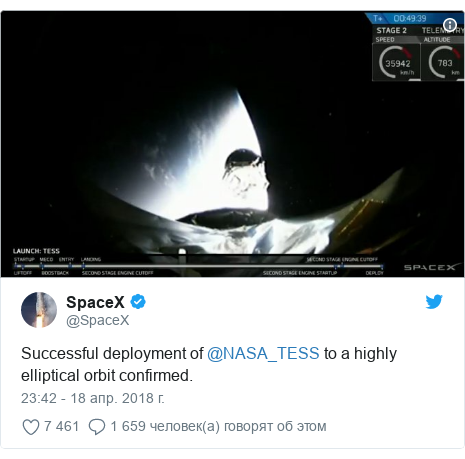 Twitter пост, автор: @SpaceX: Successful deployment of @NASA_TESS to a highly elliptical orbit confirmed.