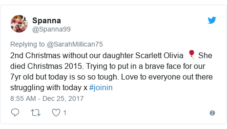 Twitter post by @Spanna99: 2nd Christmas without our daughter Scarlett Olivia 🎈 She died Christmas 2015. Trying to put in a brave face for our 7yr old but today is so so tough. Love to everyone out there struggling with today x #joinin