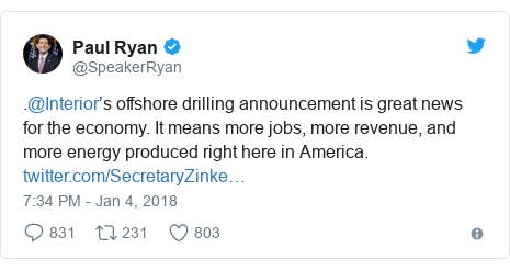 Twitter post by @SpeakerRyan: .@Interior's offshore drilling announcement is great news for the economy. It means more jobs, more revenue, and more energy produced right here in America.