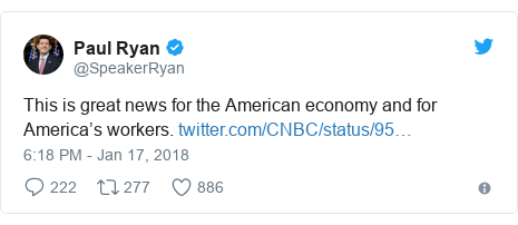Twitter post by @SpeakerRyan: This is great news for the American economy and for America's workers.