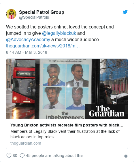 Twitter post by @SpecialPatrols: We spotted the posters online, loved the concept and jumped in to give @legallyblackuk and @AdvocacyAcademy a much wider audience.
