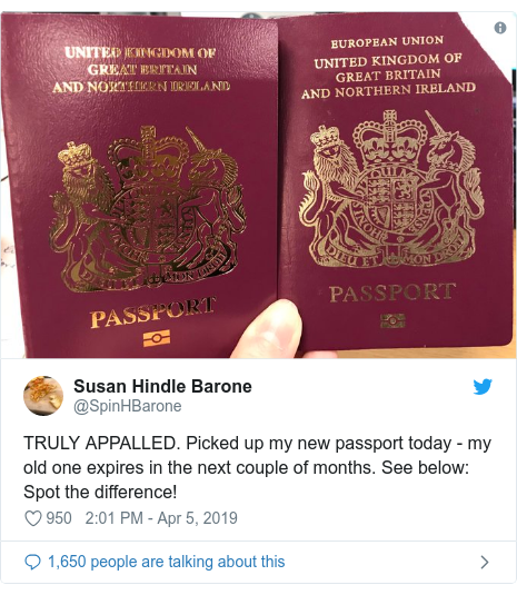 Twitter post by @SpinHBarone: TRULY APPALLED. Picked up my new passport today - my old one expires in the next couple of months. See below  Spot the difference!