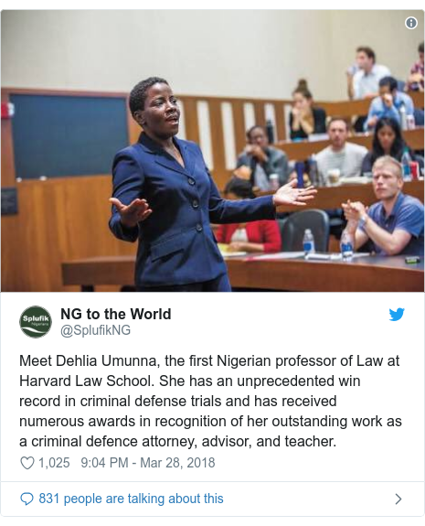 Twitter post by @SplufikNG: Meet Dehlia Umunna, the first Nigerian professor of Law at Harvard Law School. She has an unprecedented win record in criminal defense trials and has received numerous awards in recognition of her outstanding work as a criminal defence attorney, advisor, and teacher.