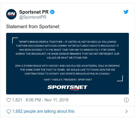 Twitter post by @SportsnetPR: Statement from Sportsnet