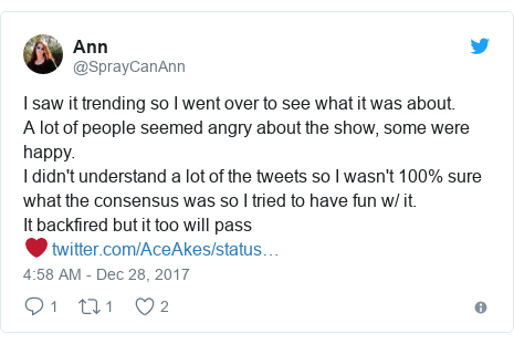 Twitter post by @SprayCanAnn: I saw it trending so I went over to see what it was about.A lot of people seemed angry about the show, some were happy.I didn't understand a lot of the tweets so I wasn't 100% sure what the consensus was so I tried to have fun w/ it.It backfired but it too will pass❤️