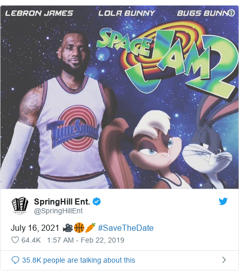 Twitter post by @SpringHillEnt: July 16, 2021 🎥🏀🥕 #SaveTheDate