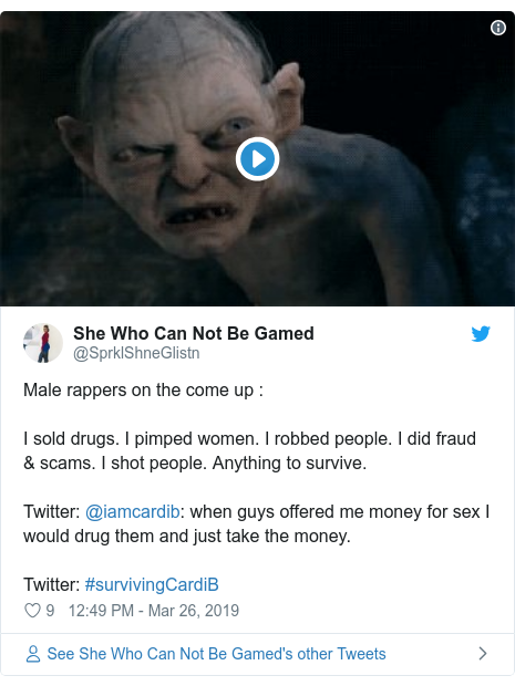 Twitter post by @SprklShneGlistn: Male rappers on the come up  I sold drugs. I pimped women. I robbed people. I did fraud & scams. I shot people. Anything to survive. Twitter  @iamcardib  when guys offered me money for sex I would drug them and just take the money. Twitter  #survivingCardiB