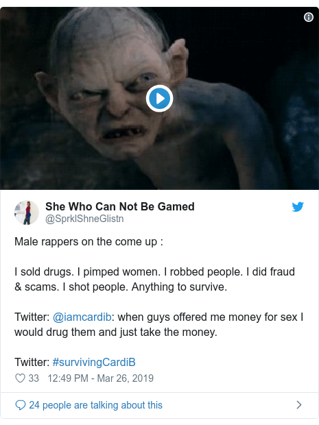 Ujumbe wa Twitter wa @SprklShneGlistn: Male rappers on the come up  I sold drugs. I pimped women. I robbed people. I did fraud & scams. I shot people. Anything to survive. Twitter  @iamcardib  when guys offered me money for sex I would drug them and just take the money. Twitter  #survivingCardiB