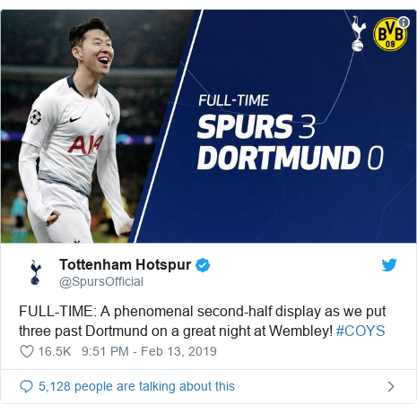 Twitter post by @SpursOfficial: FULL-TIME  A phenomenal second-half display as we put three past Dortmund on a great night at Wembley! #COYS