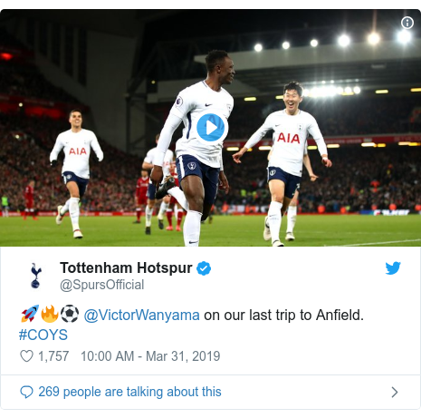 Twitter post by @SpursOfficial: 🚀🔥⚽️ @VictorWanyama on our last trip to Anfield. #COYS
