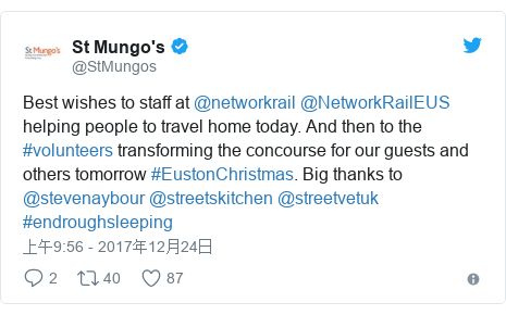 Twitter 用户名 @StMungos: Best wishes to staff at @networkrail  @NetworkRailEUS helping people to travel home today. And then to the #volunteers transforming the concourse for our guests and others tomorrow #EustonChristmas. Big thanks to @stevenaybour @streetskitchen @streetvetuk #endroughsleeping