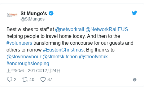 Twitter 用戶名 @StMungos: Best wishes to staff at @networkrail  @NetworkRailEUS helping people to travel home today. And then to the #volunteers transforming the concourse for our guests and others tomorrow #EustonChristmas. Big thanks to @stevenaybour @streetskitchen @streetvetuk #endroughsleeping