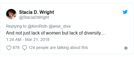 Twitter post by @StaciaDWright: And not just lack of women but lack of diversity....