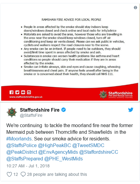 Twitter post by @StaffsFire: We're continuing  to tackle the moorland fire near the former Mermaid pub between Thorncliffe and Shawfields  in the #Moorlands. See our smoke advice for residents.  @StaffsPolice @HighPeakBC @TweetSMDC  @PeakDistrict @EnvAgencyMids @StaffordshireCC @StaffsPrepared @PHE_WestMids