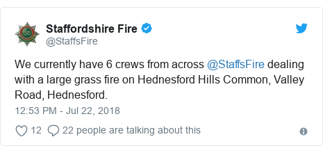 Twitter post by @StaffsFire: We currently have 6 crews from across @StaffsFire dealing with a large grass fire on Hednesford Hills Common, Valley Road, Hednesford.