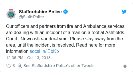 Twitter post by @StaffsPolice: Our officers and partners from fire and Ambulance services are dealing with an incident of a man on a roof at Ashfields Court , Newcastle-under-Lyme. Please stay away from the area, until the incident is resolved. Read here for more information