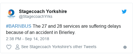 Twitter post by @StagecoachYrks: #BARNBUS The 27 and 28 services are suffering delays because of an accident in Brierley.