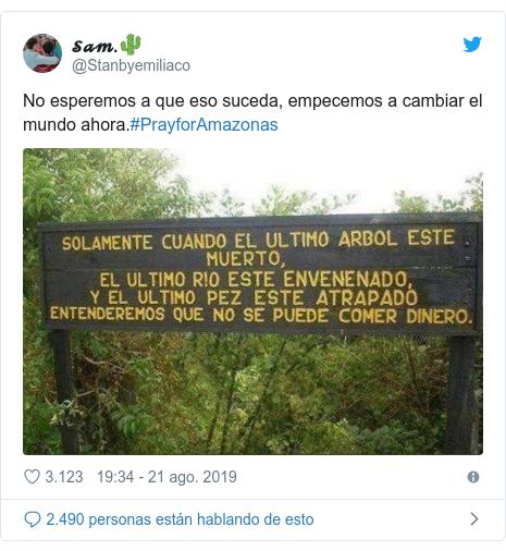 Publicación de Twitter por @Stanbyemiliaco: No esperemos a que eso suceda, empecemos a cambiar el mundo ahora.#PrayforAmazonas