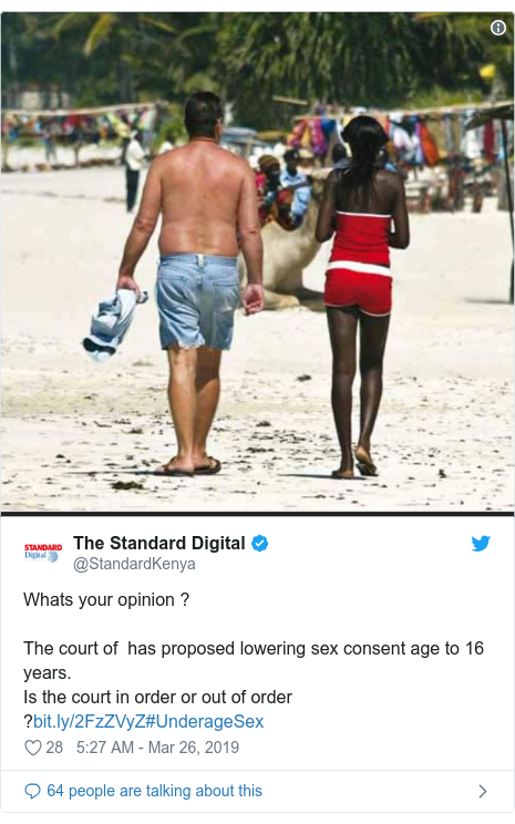 Ujumbe wa Twitter wa @StandardKenya: Whats your opinion ?The court of  has proposed lowering sex consent age to 16 years.Is the court in order or out of order ?#UnderageSex
