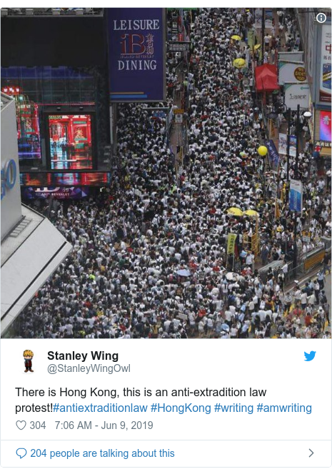 Twitter post by @StanleyWingOwl: There is Hong Kong, this is an anti-extradition law protest!#antiextraditionlaw #HongKong #writing #amwriting