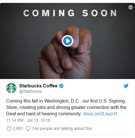 Twitter post by @Starbucks: Coming this fall in Washington, D.C.  our first U.S. Signing Store, creating jobs and driving greater connection with the Deaf and hard of hearing community