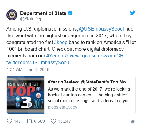 "Twitter post by @StateDept: Among U.S. diplomatic missions, @USEmbassySeoul had the tweet with the highest engagement in 2017, when they congratulated the first #kpop band to rank on America's ""Hot 100"" Billboard chart. Check out more digital diplomacy moments from our #YearInReview"