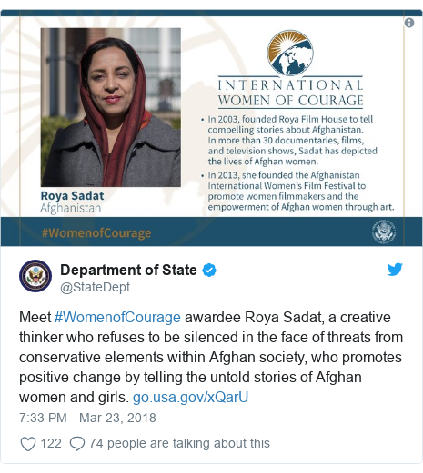 د @StateDept په مټ ټویټر  تبصره : Meet #WomenofCourage awardee Roya Sadat, a creative thinker who refuses to be silenced in the face of threats from conservative elements within Afghan society, who promotes positive change by telling the untold stories of Afghan women and girls.