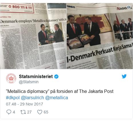 """Twitter pesan oleh @Statsmin: """"Metallica diplomacy"""" på forsiden af The Jakarta Post #dkpol @larsulrich @metallica"""