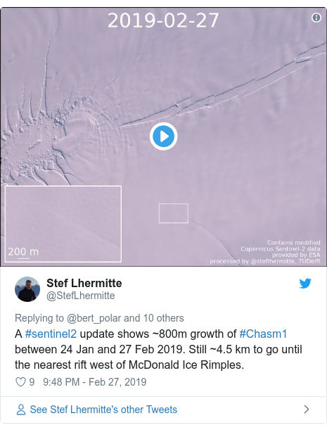 Twitter post by @StefLhermitte: A #sentinel2 update shows ~800m growth of #Chasm1 between 24 Jan and 27 Feb 2019. Still ~4.5 km to go until the nearest rift west of McDonald Ice Rimples.
