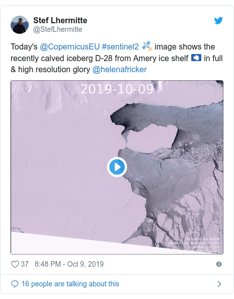 Twitter post by @StefLhermitte: Today's @CopernicusEU #sentinel2 🛰️ image shows the recently calved iceberg D-28 from Amery ice shelf 🇦🇶 in full & high resolution glory @helenafricker