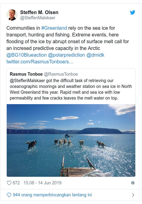 Twitter pesan oleh @SteffenMalskaer: Communities in #Greenland rely on the sea ice for transport, hunting and fishing. Extreme events, here flooding of the ice by abrupt onset of surface melt call for an incresed predictive capacity in the Arctic @BG10Blueaction @polarprediction @dmidk