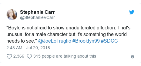 "Twitter post by @StephanieVCarr: ""Boyle is not afraid to show unadulterated affection. That's unusual for a male character but it's something the world needs to see."" @JoeLoTruglio #Brooklyn99 #SDCC"