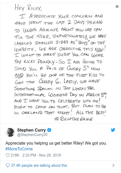 Twitter post by @StephenCurry30: Appreciate you helping us get better Riley! We got you. #MoreToCome